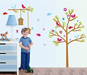 Bigmouth Colorful Tree with Birds Green Leaves and Birdcages Wall Decal Nursery Room Wall Decor by Bigmouth