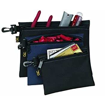 Custom Leather Craft's 1100 handy pouches are great for organizing and storing small connectors, tools, parts, and other small items. Constructed of heavy duty canvas. This multi-purpose 3 bag set with zipper closures is designed with a swivel clip t...