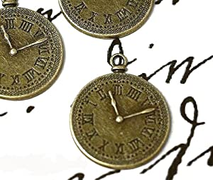 """3 x Clock Watch Pendant Charms 38mm - """"Kitsch, Alice"""" - Vintage Antique Bronze - Jewellery Making & Card Crafts (Ref:9A31)"""