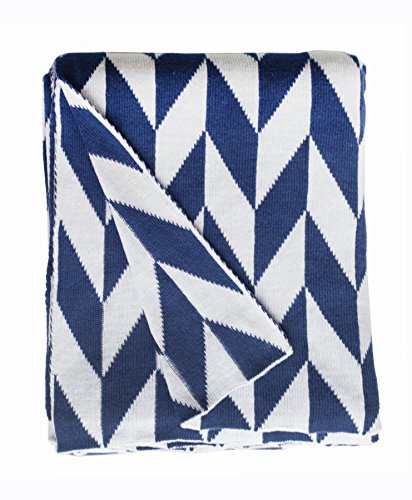 Fab Habitat Monroe Knit Throw, Blue And White front-998221