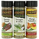 Red Monkey Foods Favorites Seasoning 3 Piece Gift Set, Savory Steak-Mango Habanera- Tarragon and Chive,