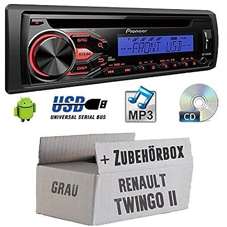 RENAULT TWINGO 2Gris-Pioneer deh1800ubb-Kit de montage autoradio CD/MP3/USB -