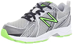 New Balance KJ554 Running Shoe (Little Kid/Big Kid),Black/Green,4.5 M US Big kid