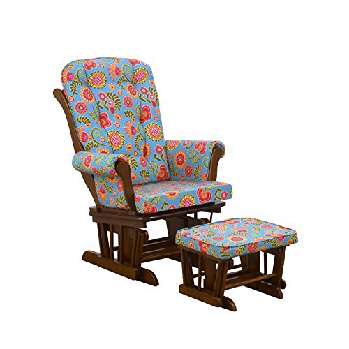 Cotton Tale Designs Glider Large Floral on Espresso with Ottoman, Gypsy