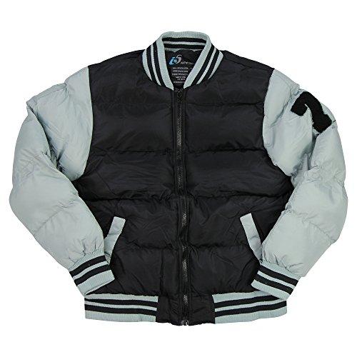 Boy's Varsity Jacket with Shoulder Patch (Black/Gray, Medium)