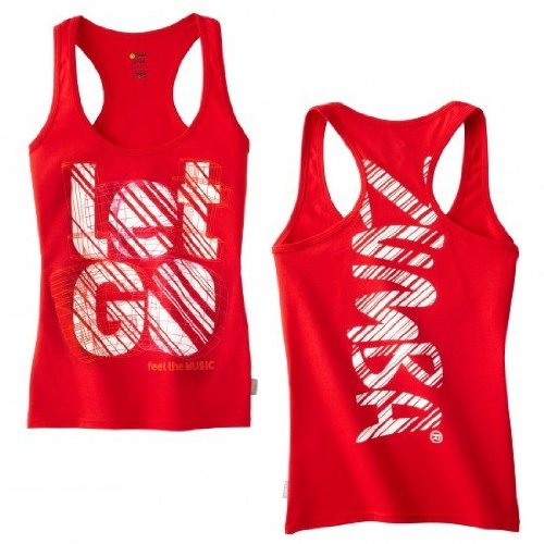 Zumba Let Go Racerback Tank Top RED size X LARGE
