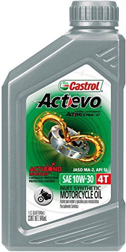 Castrol 06119 Actevo 10W-30 Part Synthetic 4T Motorcycle Oil - 1 Quart Bottle, (Pack of 6) (Castrol 10w30 Synthetic Motor Oil compare prices)