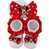 Disney Minnie Mouse Polka-Dot Red Baby Bootie & Headband Set 0-6M