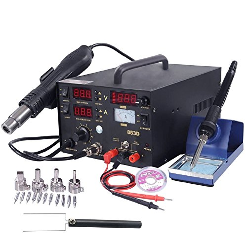 Best Deals! 853D 3in1 853D SMD Rework Station Soldering Iron Lead-Free Hot Air Gun Rework Station DC...