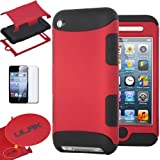Pandamimi ULAK 3-Piece Hybrid High Impact Case Cover and Inner Soft Silicone Shell for Apple iPod Touch Generation 4 with Screen Protector (Red & Black)