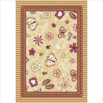 "Joy Carpets Kid Essentials Infants & Toddlers Hearts and Flowers Rug, Multicolored, 3'10"" x 5'4"""