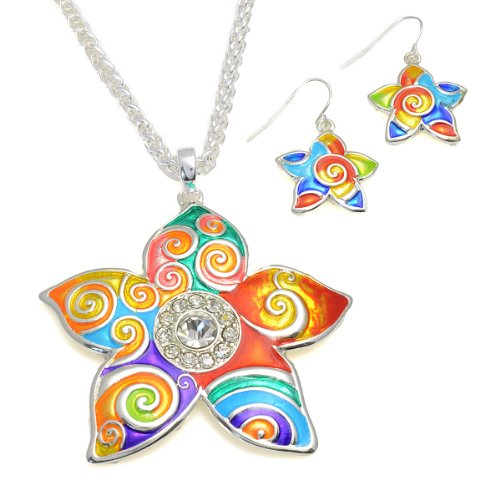 Multi Color Bright Flower Necklace and Earring Set Fashion Necklace