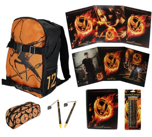 Hunger Games Double Buckle Backpack & ULTIMATE Back to School Set includes Pencil Case, Folders, Spiral, Pencils and More