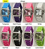 ROLEX Wrist Watches:Ladies Wrist Watch with Matching Soft Silicone Band and Square Face with Sparkly Diamond/rhinestone Stones