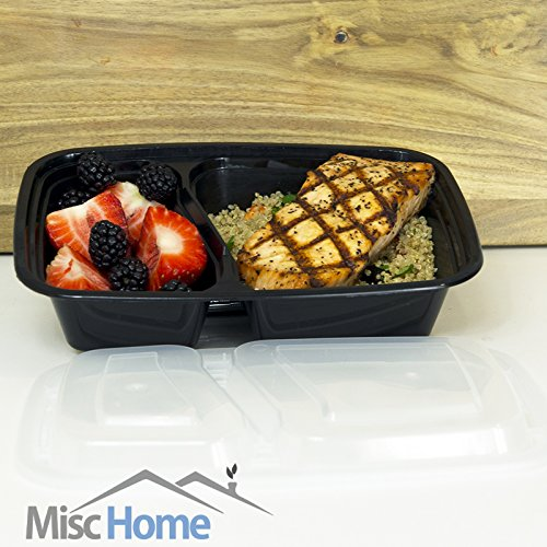 20 pack 32 oz 2 compartment meal prep containers durable bpa free plastic reusable food. Black Bedroom Furniture Sets. Home Design Ideas