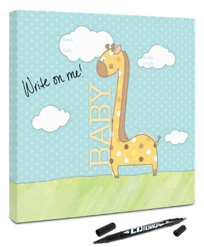Canvas Kudos Children Room Sign, Baby Giraffe