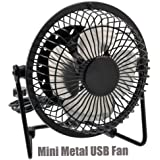 """iMBAPrice® Classic Hi Speed 4"""" USB Mini Desktop Metal Fan with ON/OFF Switch for PC / Laptop (Black)"""
