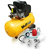 Wolf Sioux 50L, 2.5hp, 9.5cfm Air Compressor complete with 5pc Kit includes: 5m Air Hose, Gravity Feed Spray Gun, Tyre Inflator, Long Nozzle Sprayer/Degreasing Gun and Blow Gun - READY TO GO!by Wolf