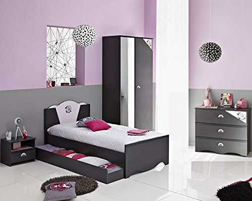 Lit enfant 90 X 200 cm -PEGANE- décor gris ombre/rose, L 105 x H 85 x P 205 cm -PEGANE-