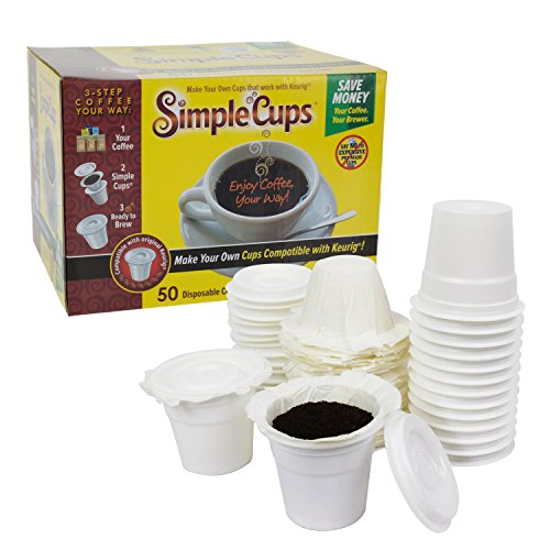 Disposable Cups for Use in Keurig Brewers - Simple Cups - 50 Cups, Lids, and Filters - Use Your Own Coffee in K-cups (Simple Cup Coffee Filters compare prices)
