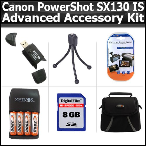 Advanced Accessory Kit For Canon PowerShot SX130 IS SX130IS Digital Camera Includes 8GB High Speed SD Memory card + USB 2.0 High Speed Card Reader + 4AA (2900 mAH) Rechargeable NIMH Batteries And Charger + Deluxe Case + LCD Screen Protectors + M