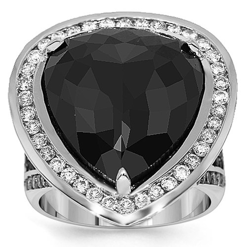 14K White Gold Mens Diamond Pinky Ring  Black