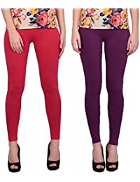 Keemono High Quality Stretchable Cotton Lycra Purple Heart & Red Color Ankle Length Leggings Combo