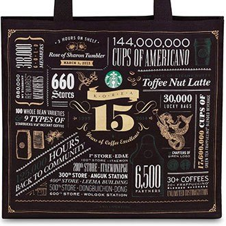 Starbucks 2014 15Th Anniversary Eco Bag In Black (Cotton Canvas Ecofriendly Fabric Shopping & Lunch Tote) Limited Gift Edition 2014 Korea Collection