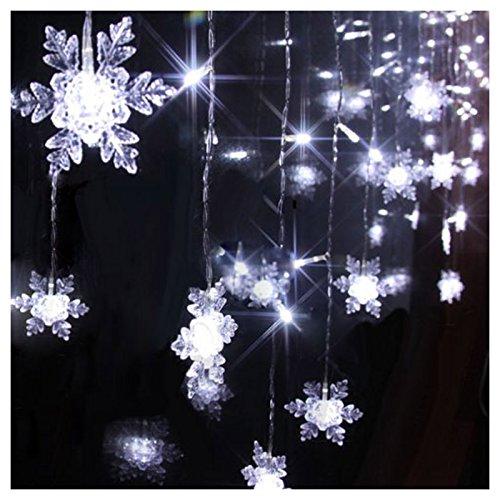 Sunsbell® 8 Modes 2M*1M 104Pcs Led Snowflake Shape Led String Fairy Light Decorative Curtain Lighting For Garden Party Wedding Festival (Cool White)