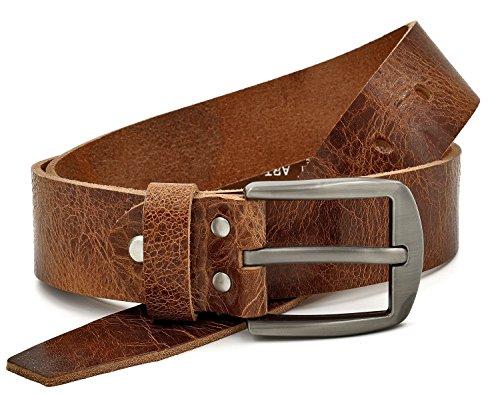 Marrone Cintura 100% pelle di bufalo, 40 mm di larghezza e circa 3-4 mm di spessore, accorciabile, cintura in pelle, per abito uomo, jeans, #Gbr00020 (waist size (Bundweite) 115cm)
