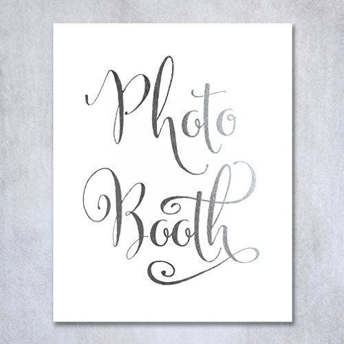 Photo Booth Silver Foil Sign Art Print Wedding Reception Signage Party Photography Poster Decor 5 inches x 7 inches