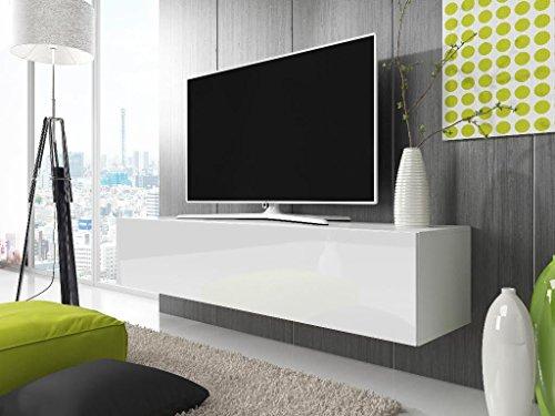 TV-Lowboard-Schrank-Simple-140-cm-wei-matt-glnzend-weie