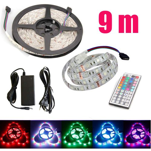 Non-Waterproof Rgb 1-30M 3528 Smd 9M 60 Leds/M Led Strips Light +12V Adapter+Remote Control