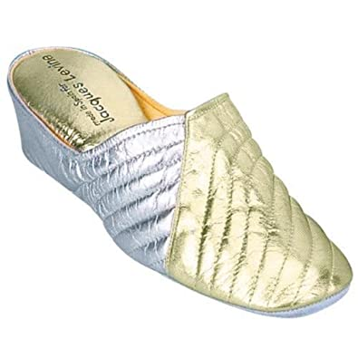 Quilted Cross Wedge Womens Slippers 1221 Gold/Silver (6)