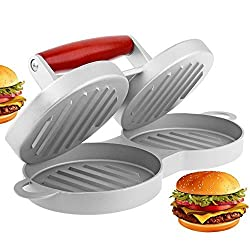 Burger Press WeHome Double Holes Aluminum No-stick Coating Hamburger Patty Maker Kitchen Tool (2 slot)