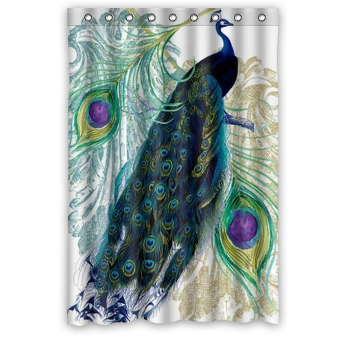 Custom Waterproof Fabric Bathroom Shower Curtain Peacock 48