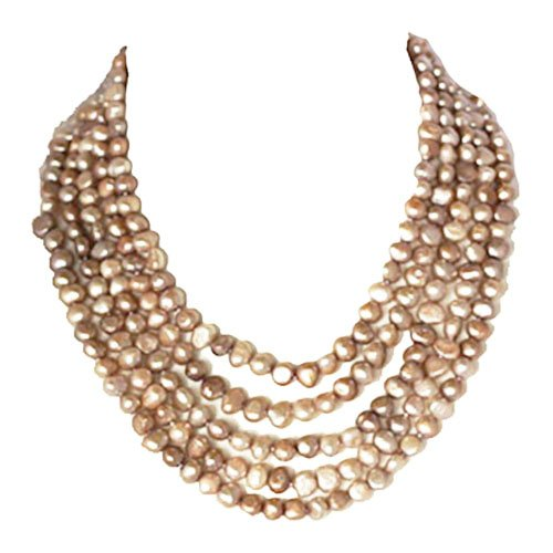Pearl Necklace - 16-22 inches-7-8mm, 5 Row Champagne Freshwater Pearl Necklace