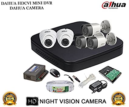 Dahua DH-HCVR4108C-S2 8CH Dvr, 3(DH-HAC-HFW1000RP) Bullet, 2(DH-HAC-HDW1000RP) Dome Camera (With Accessories,2TB HDD)