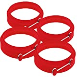TechCode®Premium Silicone Egg Rings Round Nonstick Egg Rings (Pack of 4) (Red)
