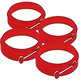 TechCode®Premium Silicone Egg Rings Round Nonstick Egg Rings (Pack of 4) (Red)