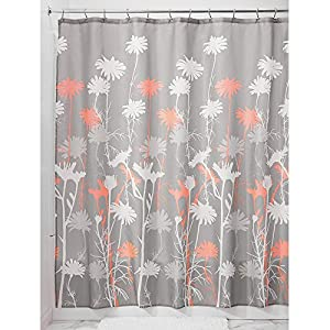 Interdesign Daizy Shower Curtain Gray And Coral 72 X 72 Inch Home Kitchen