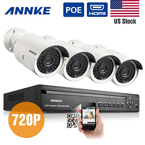 Read About Annke® 4CH 720P PoE NVR HD Security Camera System with 4 Indoor/ Outdoor Night Vision 72...