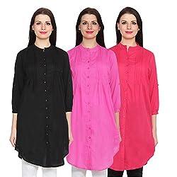 NumBrave Black, Magenta & Darkpink Long Cotton Top (Pack of 3)