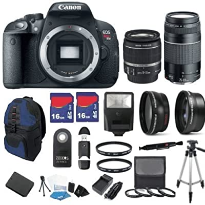 Canon EOS Rebel T5i 18 MP CMOS Digital SLR Full HD 1080 Video Body with EF-S 18-55mm IS STM Lens & EF 75-300mm III Lens with 32GB Deluxe Accessory Bundle