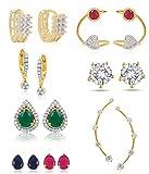 Jewels Galaxy Water Drop Design 6-in-1 Interchangeable Earring, 2 Earcuffs, 3 Earrings - Hot Deal Combo