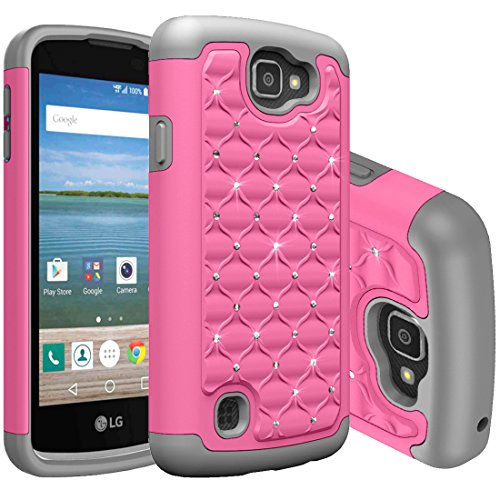 LG K4 Case, NOKEA Studded Rhinestone Crystal Bling [Shockproof] Hybrid Dual Layer Armor Defender ProtectiveCase Cover for LG K4 LTE / LG Spree / LG Opitmus Zone 3 (Pink Grey) (Verizon 4g Lte Protective Case compare prices)