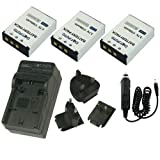 Dot.Foto Toshiba PA3985, PA3985E-1BRS PREMIUM 3.7v/1700mAh Battery (3-Pack) and Battery Travel Charger - 100-240v Mains (UK, Europe, USA Plugs) - 12v in-car adapter [See Description for Compatibility]