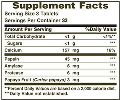 Nature's Bounty Original Papaya Enzyme, 100 Tablets (Pack of 6)