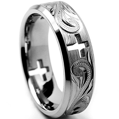 Oliveti Titanium Men'S Cross Cut-Out And Engraved Floral Design Ring (7 Mm)- Size 12.5