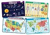 Explorer Set - Educational Kids Placemats Set of 4: Body, USA, World, Solar System - Bundle - Non Slip Washable